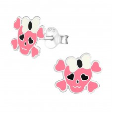 Skull - 925 Sterling Silver Colorful ear studs for kids A4S18929
