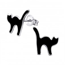 Cat - 925 Sterling Silver Colorful ear studs for kids A4S19086