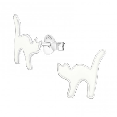 Cat - 925 Sterling Silver Ear studs with enamel colors A4S19086
