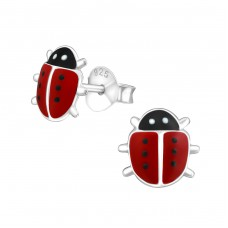 Ladybug - 925 Sterling Silver Colorful ear studs for kids A4S19159