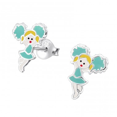 Cheerleader - 925 Sterling Silver Colorful ear studs for kids A4S19453