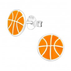 Basketball - 925 Sterling Silver Colorful ear studs for kids A4S19459