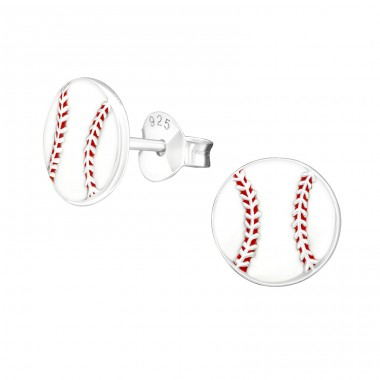 Baseball - 925 Sterling Silver Colorful ear studs for kids A4S19460