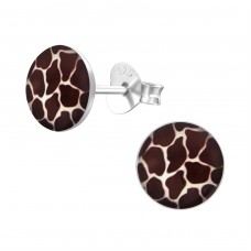 Giraffe Print - 925 Sterling Silver Colorful ear studs for kids A4S19689