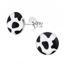 Cow Spots - 925 Sterling Silver Colorful ear studs for kids A4S19690