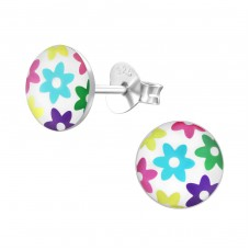 Colored Flowers - 925 Sterling Silver Colorful ear studs for kids A4S19692