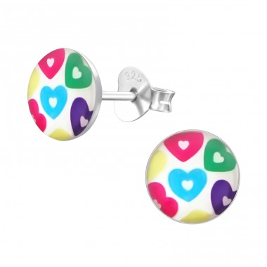 Colored Hearts - 925 Sterling Silver Ear studs with enamel colors A4S19694