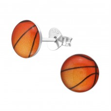 Basketball - 925 Sterling Silver Colorful ear studs for kids A4S19695