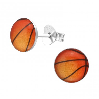 Basketball - 925 Sterling Silver Ear studs with enamel colors A4S19695