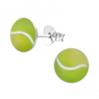 Tennis Ball - 925 Sterling Silver Colorful ear studs for kids A4S19696