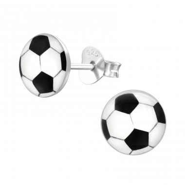Football - 925 Sterling Silver Ear studs with enamel colors A4S19697
