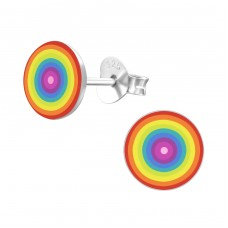 Rainbow - 925 Sterling Silver Colorful ear studs for kids A4S19699