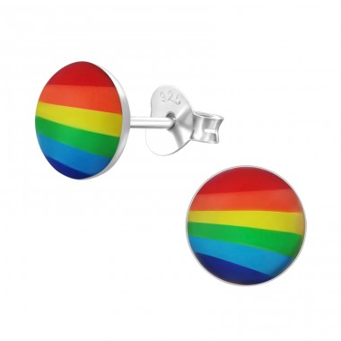Rainbow - 925 Sterling Silver Ear studs with enamel colors A4S19701