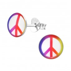 Peace Sign - 925 Sterling Silver Colorful ear studs for kids A4S19702