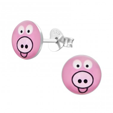 Pig - 925 Sterling Silver Ear studs with enamel colors A4S19705