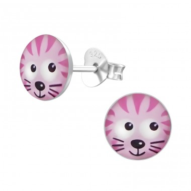 Cat - 925 Sterling Silver Ear studs with enamel colors A4S19708