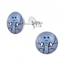 Elephant - 925 Sterling Silver Colorful ear studs for kids A4S19710