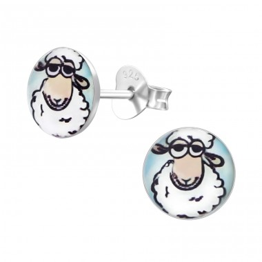 Sheep - 925 Sterling Silver Colorful ear studs for kids A4S19714