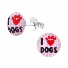 I Love Dogs - 925 Sterling Silver Colorful ear studs for kids A4S19716