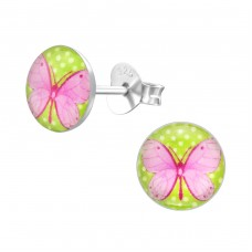 Butterfly - 925 Sterling Silver Colorful ear studs for kids A4S19717