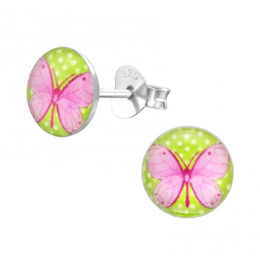 Butterfly - 925 Sterling Silver Ear studs with enamel colors A4S19717