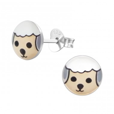 Sheep - 925 Sterling Silver Ear studs with enamel colors A4S19719