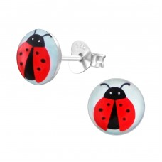 Ladybug - 925 Sterling Silver Colorful ear studs for kids A4S19720