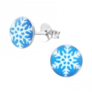Snowflake - 925 Sterling Silver Ear studs with enamel colors A4S19726