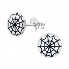 Spider Web - 925 Sterling Silver Colorful ear studs for kids A4S19730