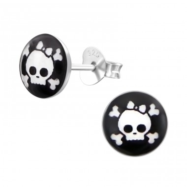 Skull - 925 Sterling Silver Colorful ear studs for kids A4S19731