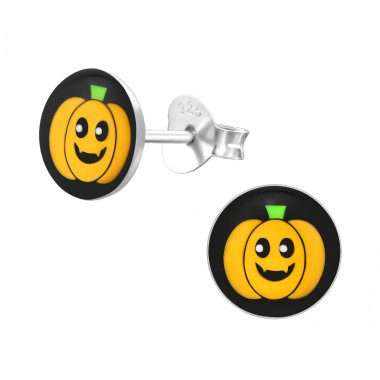 Pumpkin - 925 Sterling Silver Colorful ear studs for kids A4S19735