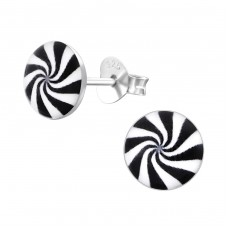 Black And White Spiral - 925 Sterling Silver Colorful ear studs for kids A4S19740