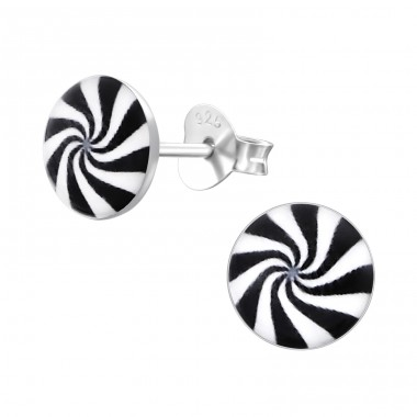 Black And White Spiral - 925 Sterling Silver Ear studs with enamel colors A4S19740