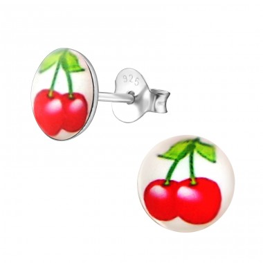 Red Cherry - 925 Sterling Silver Ear studs with enamel colors A4S19746
