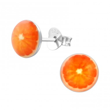 Orange - 925 Sterling Silver Ear studs with enamel colors A4S19747