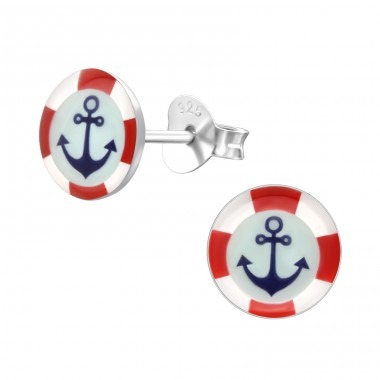 Anchor - 925 Sterling Silver Ear studs with enamel colors A4S19757