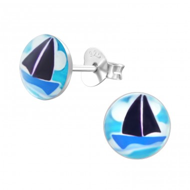 Sail Boat - 925 Sterling Silver Ear studs with enamel colors A4S19758