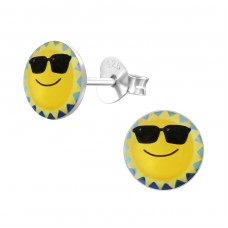 Sun - 925 Sterling Silver Colorful ear studs for kids A4S19760