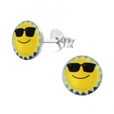 Sun - 925 Sterling Silver Ear studs with enamel colors A4S19760