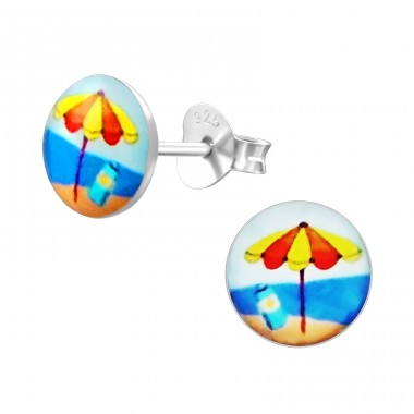 Beach - 925 Sterling Silver Ear studs with enamel colors A4S19761