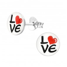Love - 925 Sterling Silver Colorful ear studs for kids A4S19762