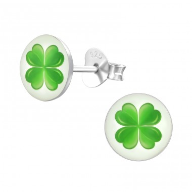 4 Leaf Clover - 925 Sterling Silver Ear studs with enamel colors A4S19779