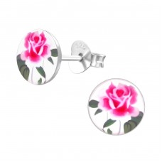 Rose - 925 Sterling Silver Colorful ear studs for kids A4S19780