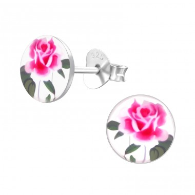 Rose - 925 Sterling Silver Ear studs with enamel colors A4S19780