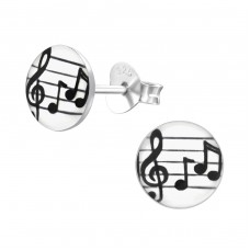 Musical Note - 925 Sterling Silver Colorful Earrings For Kids A4S19783
