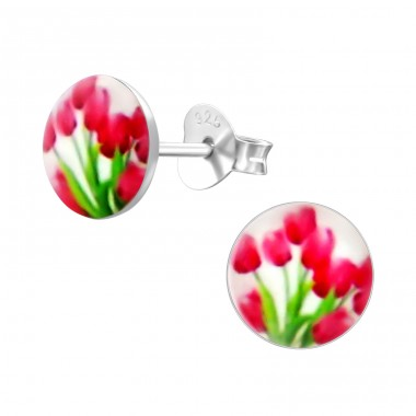 Tulips - 925 Sterling Silver Ear studs with enamel colors A4S19795