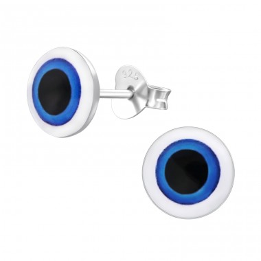 Eye - 925 Sterling Silver Ear studs with enamel colors A4S19797