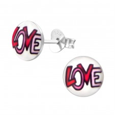Love - 925 Sterling Silver Colorful ear studs for kids A4S19798