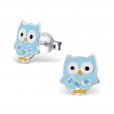 Owl - 925 Sterling Silver Colorful ear studs for kids A4S19801