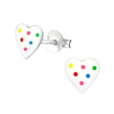 Heart - 925 Sterling Silver Colorful ear studs for kids A4S19893